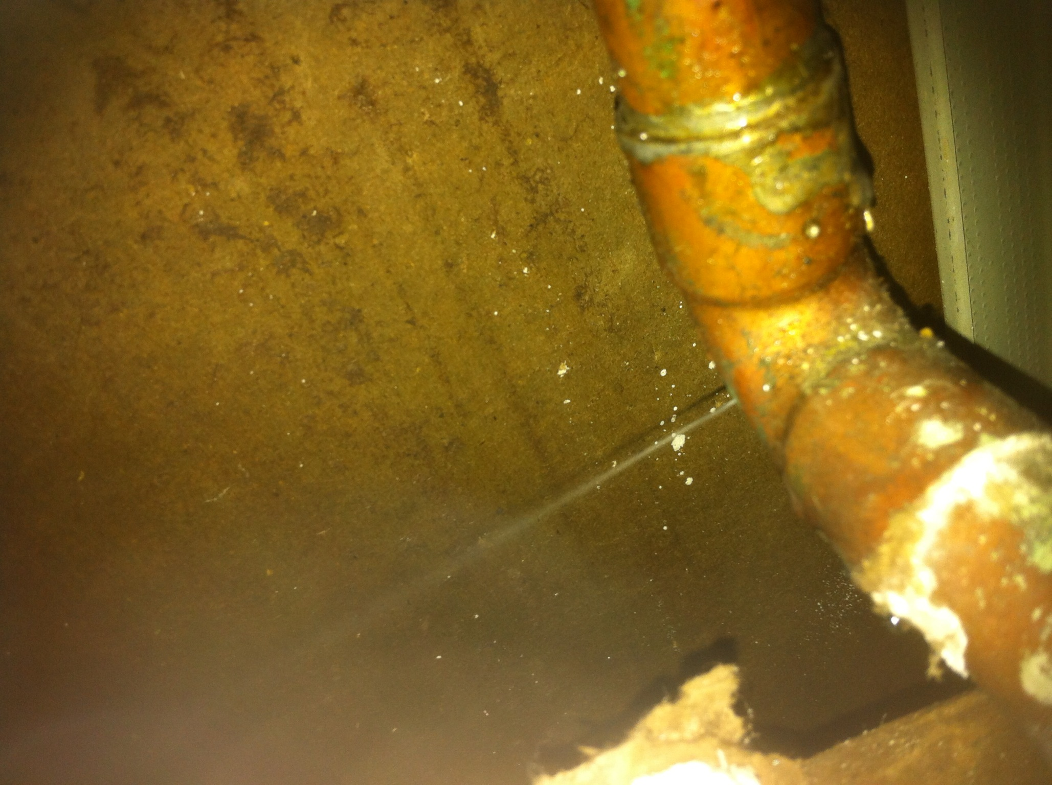 Broken copper pipe leaking