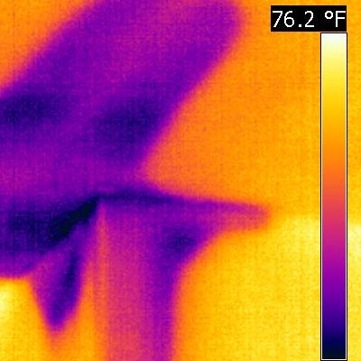 FLIR Thermal Moisture Camera Showing Moisture caused by a water leak